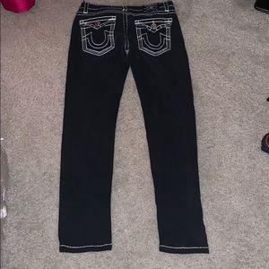 True religion dark blue skinny jeans white stitch